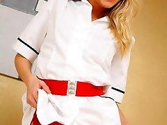 Have a sight what crimson lingerie is under beauty nurse uniform.