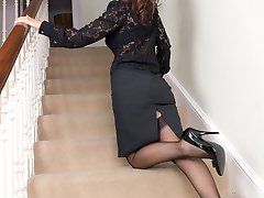 Jess, coming down the stairs in classic sheer RHT nylon, stiletto heels and traditional garters!