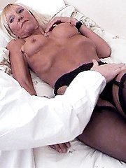 Horny grandma Kay bares it all to show off her wrinkled ass and sagged tits while a guy pounds her hole