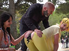 Part 1 - Spanish Slut gets disgraced like a pig!Perky Nerea Falco is ready to be disgraced. But little does she know Max Cortes and Liz Rainbow are there to turn this slut into a fuck pig! Suspended in rope bondage, Max and Liz both take turns aggressively slapping the fuck out of Nerea until she learns how to properly respond like a pig. Once they let her down, she is then made to worship and lick Liz's sexy high heals and feet. Every good pig needs an anal tail, which is shoved down this sluts tight ass hole. She is then made to crawl on her hands and knees in front of a crowded park.Part 2 - Spanish Bar turns into a Filthy Fuck Party!Nerea is dragged into a filthy bar and is soaked in freezing cold water. She is then made to lick up and scrub clean the dirty floors with her body and tongue. The bar goes wild! Patrons get their horny hands all over these sluts. Even Liz gets her clothes torn off and gets into the action! Ass eating, hair pulling, face spitting, aggressive deep throat, hard anal, this bar gets it all! Dicks are pulled out and suck off, tits come out and get slapped! Champagne is sprayed over everyone! Finally Nerea is drenched in cum, while a bar patron wipes it all over her filthy face.