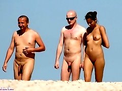 A pair of nude nudists filmed on the beach