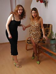 Nasty babes awaking sleepy gal for outrageous pantyhose group sex on sofa