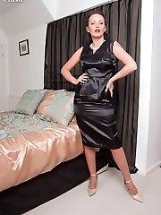 Harsh MILF peels off in sheer panties and vintage nylons for sex!