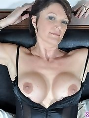 Hawt MOTHER I'D LIKE TO FUCK Angela teases in black lingerie