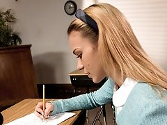 Kirra Lynne thinks she can get away with cheating on a test.  Isis Love catches her in the act and proceeds to turn Kirra into a humiliated sex toy.  Lots of hot punishment, strapon sex and aggressive oral sex in this fun role play update!