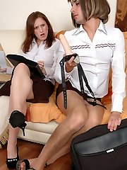 Sissy co-worker finds insane pleasure in riding on a gal�s king-size strap-on