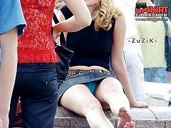Blonde hotties in denim upskirt pics