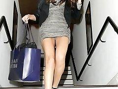 Skinny babe in car up skirt pics