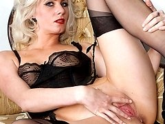 Glamorous Bianca in RHT nylons, merry widow and sheer black panties!