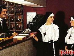 Retro nuns sharing 2 guys