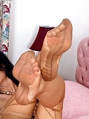 Come and worship these tan totally fashioned nylon soles!