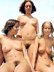 retro photos with nude beach posers