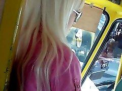 Blonde`s pussy upskirt