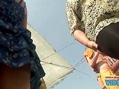 Upskirt hunters are taping first-timer upskirt of uber-sexy chicks next door in light sundresses