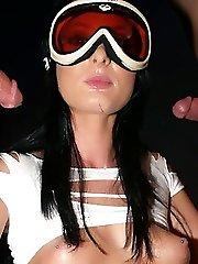Sexy superstar Melissa Lauren goes to work rubbing dicks and draining warm geysers of cum