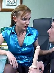 Bossy office babe licks and stuffs the rear of her manmeat-loving co-worker
