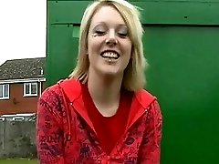 UK female taking a piss in a bus stop
