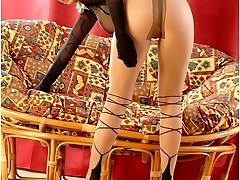 Blondie Peach wears tan and black pantyhose all over body