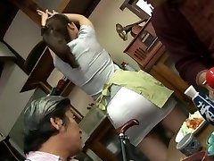 Mature fucking threesome with Mirei Kayama in a mini skirt
