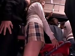 Shy Schoolgirl fondled and used in a bus