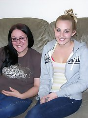 Tiny Breasted Teen And Glasses Wearing BBW Modeling Nude - Crystal & Cynthia