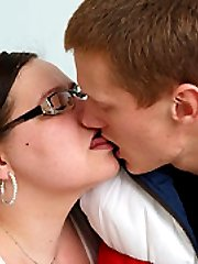 He fingers and plays with his chubby teacher and then he gives her shaved pussy a pounding