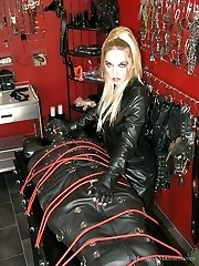 Leather Dominatrix Milking