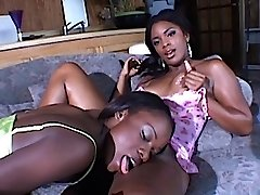 Tongues and fucktoys in some sweet black pussy