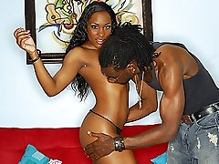 Sexy ebony babe bends over for this throbbing black dick