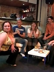 They are drinking and dancing at the great party and the fat sluts give up the pussies