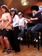 The horny fat chick with the incredible titties is bent at the party and taken from behind