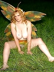 Fat fairy girl fucks sticks outside