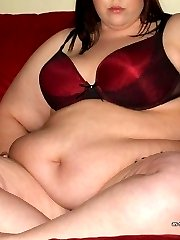 Naughty amateur BBW strips naked on cam