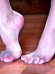 Frisky hottie teasingly licks sweet nyloned feet with red painted toenails