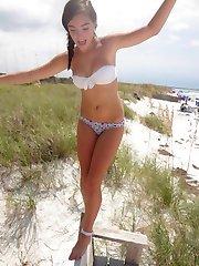 Hot babes show bikini bodies on cam