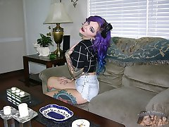 Nude & Tattooed Metalhead Punk Babe Kandy
