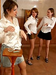 Lesbian trio having unforgettable sensation of pantyhose group sex in WC