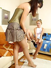 Horny girls playing with hosiery and rubbing their crotches through tights
