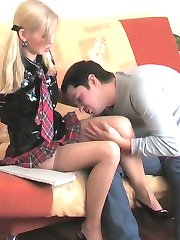 Stockinged babe with fine behind going down for hot fucking in doggystyle