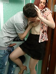 Lusty gal in control top pantyhose having fucking amusement in the bathroom