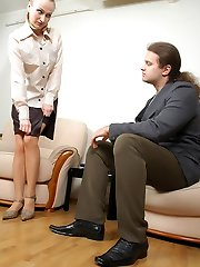 Freaky secretary getting her insatiable muff filled with delicate velvety tights