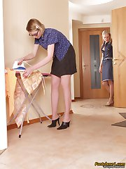 Nasty housewife doing her household chores longing for steamy nylon games