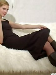 Tall Joceline in secretary dress and tights