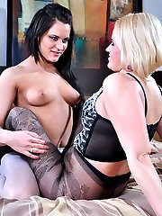 Lesbian girlfriends go from tender pantyhose worshipping to hot toy fucking