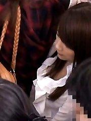 Japanese AV Model is touched on ass in nylon PublicSexJapan.com