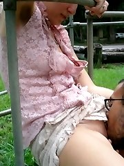Chick gets finger-fucked in public