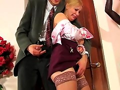 Well-hung boss using special disciplining methods drilling babe�s butthole
