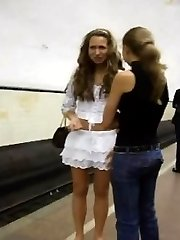 Tall tanned blond. There were a lot of people all around me and I wasn't so brave to hoist her skirt, but it was very short! I saw everything �black duds with a jam rag!