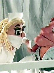Puppet nurse providing blowjob
