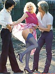 Retro lady in a threesome